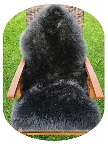 Premium-Schaffell, schwarz grau von LANABEST. Luxus-Felle in Geschenkqualität! Echtes Naturfell mit zarter, warmer und kuscheliger Wolle. Absolut geruchsarm! Moderne, ganz tolle Farbe schwarz-grau