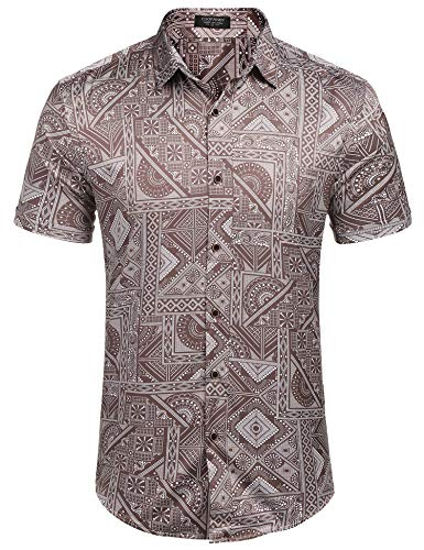 COOFANDY Men's Standard-Fit Tile Printed Beach Print Hawaiian Shirt (Light Coffee S)