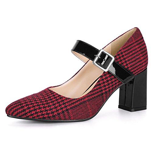 Allegra K Women's Block Heel Pointed Toe Red Mary Jane Pumps - 7 M US