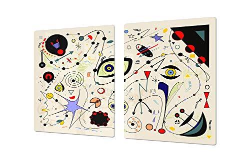 Cubre vitrocerámica para cerámicas de grandes dimensiones o tabla de cortar de cristal templado – UNA PIEZA (80 x 52 cm) o DOS PIEZAS (40 x 52 cm) Serie de Fantasía y Cuento de Hadas DD18