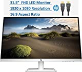"""2021 Newest 31.5"""" Full HD (1920 x 1080) IPS LED PC Computer Monitor for Business Student,Ergonomic Viewing 178°,HDMI, VGA, 5ms, 60Hz, 16:9, 10,000,000:1 Dynamic Contrast Ratio, w/HubXcel HDMI Cable"""