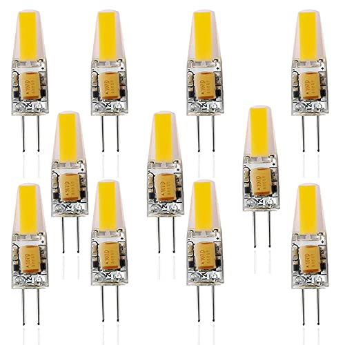 ZJYX Bombillas LED G4 6W, Equivalente de Lámpara Halógena de 60W, 600 Lúmenes No Regulable, AC/DC 12V, Ángulo de Haz de 360° Bombilla Spotlight (Paquete de 11),Natural White 4500k