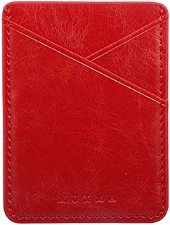 Phone Card Holder, DECVO Case-Mate PU Leather Glitter Phone Card Id Cash Credit Wallet Holder Removable Adhesive Stick-on Compatible with iPhone Sumsung Galaxy Android Smartphones Multi Colors (Red)