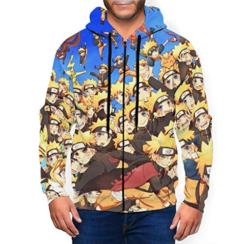 Anime Uzumaki Naruto - Sudadera con capucha para hombre con cremallera y capucha de manga larga, impresión 3D, a la moda, con bolsillos en la parte delantera Negro Negro ( XXXL