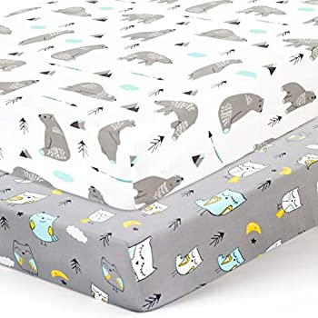 Stretchy Crib Sheets Set BROLEX 2 Pack Portable Crib Mattress Topper for Baby Boys Girls,Ultra Soft Jersey Knit,Owl & Bear