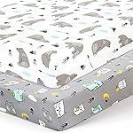 Stretchy-Crib-Sheets-Set-BROLEX 2 Pack Portable Crib Mattress Topper for Baby Boys Girls,Ultra Soft Jersey Knit,Owl & Bear