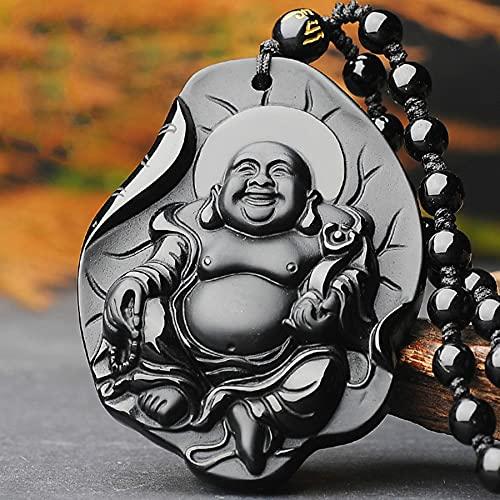 SWAOOS Collar con Colgante de Jade de Buda de obsidiana Negra Natural, Accesorios de joyería de Moda tallados a Mano Chinos, Amuleto para Hombres y Mujeres, Regalos