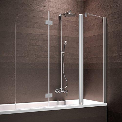 Schulte D693359 41 500 Triplex Duschabtrennung für Badewanne, chromoptik, 150x140 cm