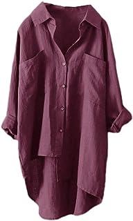 بلوزة حريمي Coolred ذات جيوب بألوان نقية بأزرار على مقاس غير متماثل