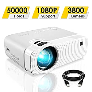 Proyector de vídeo, leshp HD 1080P HD 3200 lúmenes LED Mini LCD ...