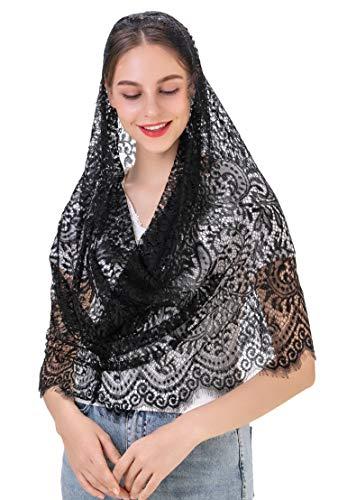 Wgior Lace Spanish Infinity Catholic Chapel Veil Latin Mass Head Covering Scarf Mantilla Veils for Church (Black)