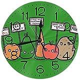 Reloj De Pared Veganos Protestando Verduras Divertidas Reloj De Pared Silencioso Sin Tictac -Rondo Fácil De Leer para El Hogar/Oficina/Reloj Escolar