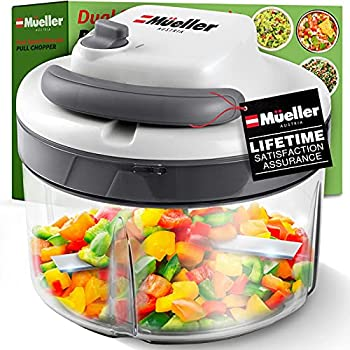 Mueller Austria Strongest-and-Heaviest Duty Dual Speed Pull Chopper Vegetable Cutter for Nuts Garlic and More Manual Food Processor - Vegetable Slicer and Dicer 40.5oz No BPA Bowl