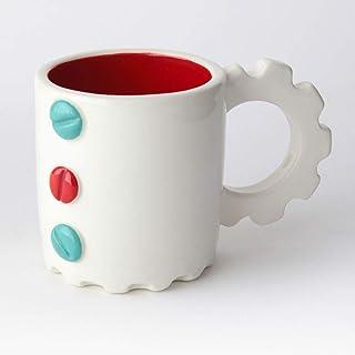 Taza de Cerámica hecha y pintada a mano, Disponible en varios colores, diseño mecánico – 200 ml (Turquesa, Rojo)