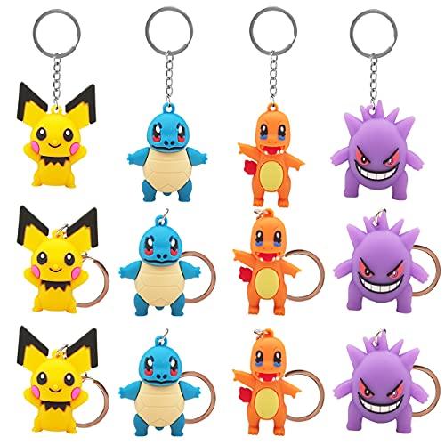LIDBHR Porte-Clés en Caoutchouc 12 Porte-clés Pokémon de Dessin Animé Pendentif Pokemon Mignon pour Garçon Fille Enfants Pendentif porte clef pokemon