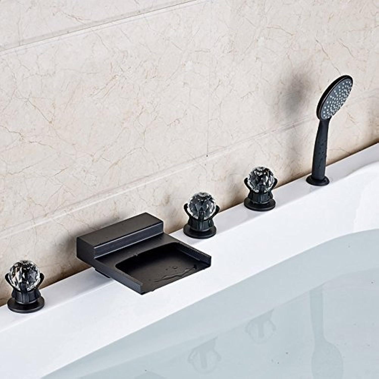 Deck montiert verbreitete Bad Badewanne Waschbecken Wasserhahn drei Griffe Wasserfall Auswurfkrümmer Mixer Wasserhhne l eingerieben Bronze Finish