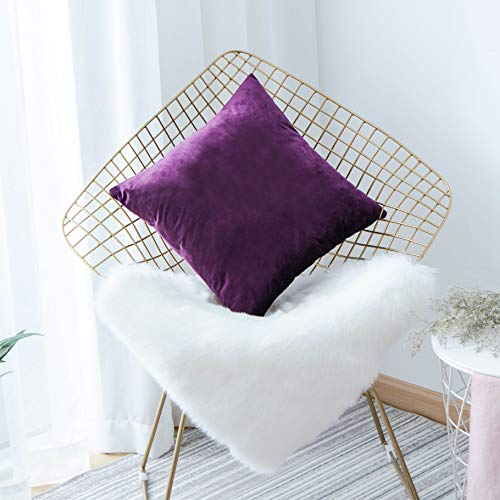 HOME BRILLIANT Velvet Decorative Euro Throw Pillow Cover Sham Large Cushion Cover for Patio Kids' Room, 26x26 inch(66 x 66), Eggplant Purple