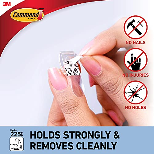 Command Decorating & organizing 20 clips/hooks and 24 mini strips,Damage Free walls,Clear