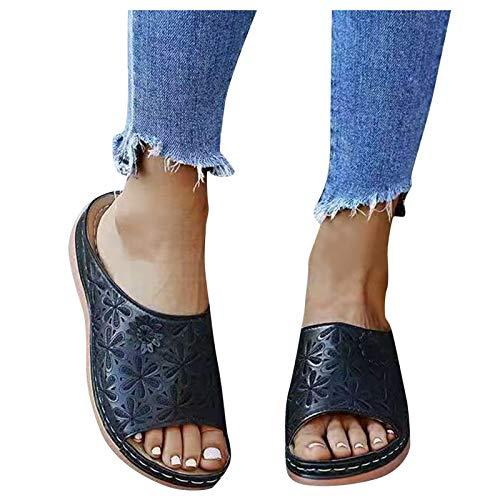 Dasongff Damen Slip-On Sandalen Clogs Weich Bequem Keilsandaletten Ethno Flip Flops Peep Toe Pantoletten Slides Elegante Sommerschuhe Freizeit Römersandalen