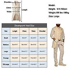 Nofonda Mens Gothic Steampunk Double Breasted Vest Brocade Waistcoat Tailcoat Vest VTG (Black, Small) #2