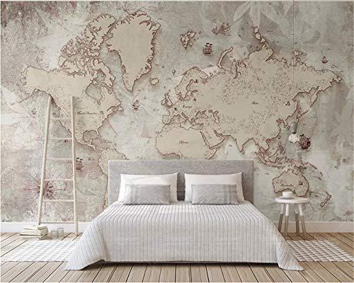 XLXBH zelfklevend behang 3D-behang, retro-stijl, landkaart van de Scandinavische wereld, achtergrond tv, decoratie voor thuis, 3D-behang, kinderkamer, kantoor, eetkamer, woonkamer 250x175 cm (WxH) 5 rayas - autoadhesivas