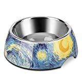 Flexzion Stainless Steel Dog Bowl Cat Dish - Anti-Slip Slip Resistant Rubber Base Pet Feeder, Dishwasher Safe & Rust Resistant with Removable Food Water Holder up to 24 Fl Oz (Starry Night)