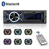Autoradio Bluetooth, 1 Din Radio de Voiture, 7 Couleurs Poste Radio Stéréo FM Radio...