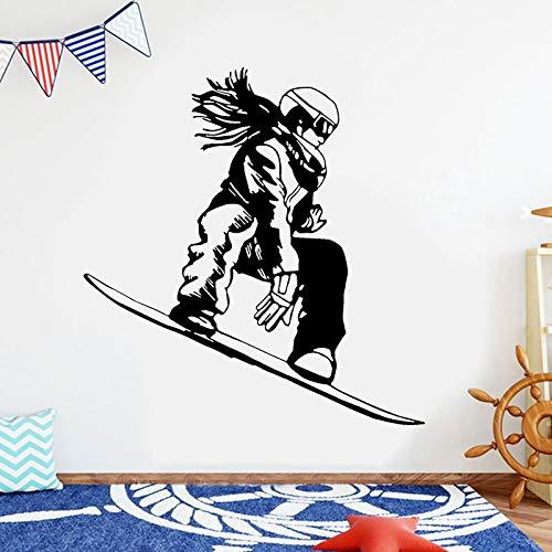 Snowboard Girl Extreme Sport Tatuajes de pared Decoración del hogar Niños Niñas Habitación Dormitorio Etiqueta de la pared Snowboarder Wallpaper A2 57x60cm