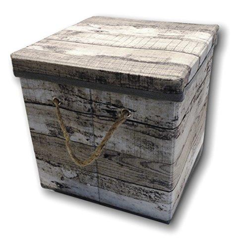 Opbergdoos, opbergdoos, kist, opvouwbaar, met deksel en draagkoord, van stof in hout, retro-look (klein, grijs)