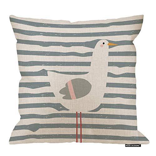 Funda de almohada de gaviota escandinava, diseño infantil de gaviota escandinava, algodón, lino, poliéster, decoración decorativa del hogar, sofá, silla de escritorio, dormitorio, 45,7 x 45,7 cm