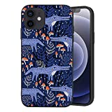 Wozukia Funny Wolfs Case Compatible with iPhone 12 and iPhone 12 Pro 6.1 Inch 2020 in A Farytale Forest Mushroom Decor Purple Soft Flexible TPU Shockproof Screen Protector Cover