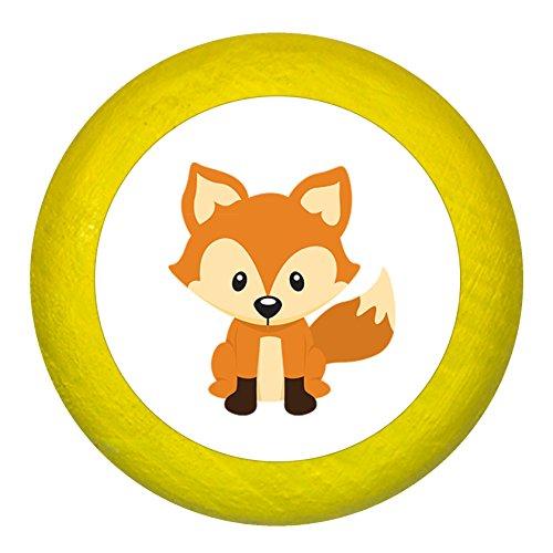 Kommodengriff Fuchs gelb Holz Kinder Kinderzimmer 1 Stück Waldtiere