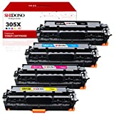 Shidono Remanufactured Toner Cartridge Replacement for HP 305X 305A Fits with HP Laserjet Pro 400 Color M451dw/M451dn/M451nw/M375nw/M475dn/M475dw Printer,[4-Pack, 1Black/1Cyan/1Yellow/1Magenta]