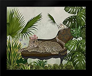Leopard Chaise Longue 18x15 Framed Art Print by Fab Funky