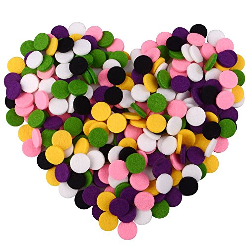 Multicolor Refill Pads for Essential Oil Diffuser Locket Pendant Necklace Bracelet Car Air Freshener 60PCS Aromatherapy Replacement Felt Pads 20mm