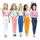 E-TING 5 sistemas calidad muñeca ropa blusa hecha a mano pantalones traje ropa de Sport para muñecas Barbie