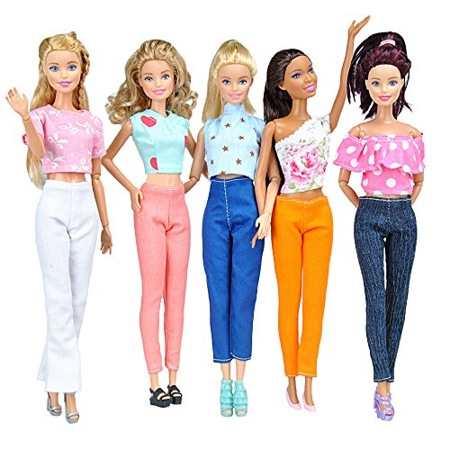 E-TING 5 Sets Quality Doll Clothes Handmade Blouse Pants Outfit Casual Wear For Barbie Dolls
