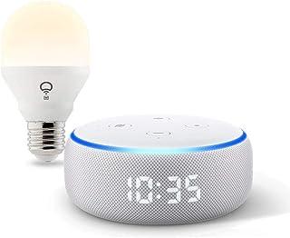 Echo Dot with clock (Sandstone) bundle with LIFX Wi-Fi Smart Bulb