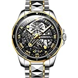 Swiss Brand Mens Watches Skeleton Automatic Luxury Wristwatch Mechanical Self-Winding Sapphire Crystal Black Dial Two Tone Tungsten Steel Waterproof Luminous Business Dress Watch for Men Gifts