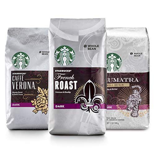 Starbucks Dark Roast Whole Bean Coffee — Variety Pack — 3 bags (12 oz. each)