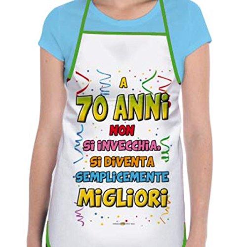 GREMBIULE 70 ANNI Gadget stampato idea regalo festa 70° COMPLEANNO
