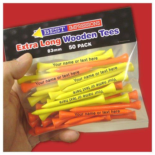 Tees de Golf personaliseitonline Extra larga - 50 unidades naranja y amarillo Tees
