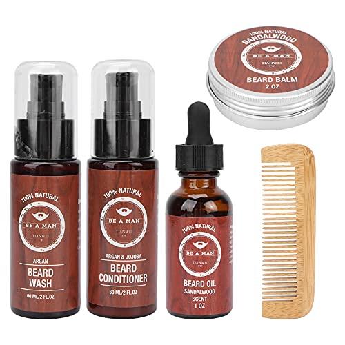 Kit de cuidado de barba, haz que la barba luzca saludable, brillante, suave, reduce la pérdida de barba, aceite de barba práctico con kit para uso doméstico y peluquería profesional
