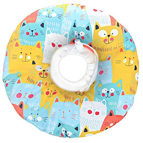 Kitchen-dream Collar de recuperación para Gatos,Collar Protector para Mascotas, Collar Ajustable Anti-mordida para Mascotas, para Curar heridas después de la cirugía de Mascotas (Amarillo)