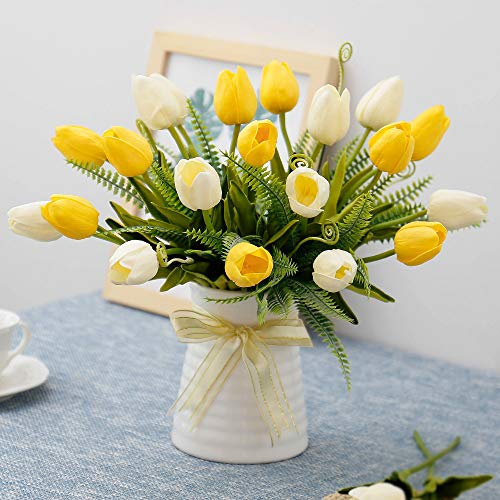 YILIYAJIA Artificial Tulips Flowers with Ceramics Vase Fake Tulip Bridal...