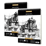 PENCILMARCH Bloc de Dibujo en Espiral - A3 180 GSM 50 Hojas*2. Cuaderno de dibujo para artistas. Ideal para estudios,...