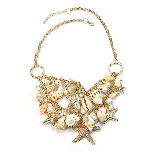 Leorx donne, signore collana collare catena con ciondolo conchiglia perla (oro)