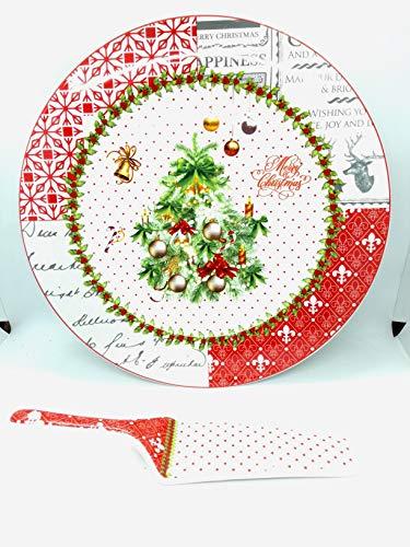 KING Idea Natale: Piatto Vassoio Natalizio Con Paletta Per Panettone Pandoro Fine Porcellana Per Torta Dolce Decorato Con Albero Di Natale Cm 30,5