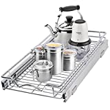 """Pull Out Cabinet Drawer Organizer –Heavy Duty- Slide Out Kitchen Cabinet Storage Shelves, Sliding Drawer For cabinet -11""""W x 21""""D - Requires At Least a 12"""" Cabinet Opening, Wire Frame, Chrome Finish"""