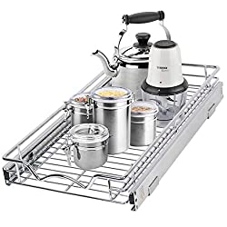 narrow silver pullout platform for pantry or cabinet